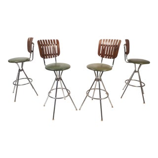 Set of Four Mid-Century Modern Swivel Bar Stools by Arthur Umanoff
