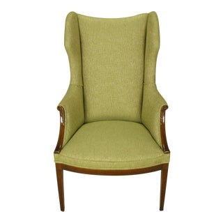 1940s Italianate Mahogany and Sage Linen Upholstery Wing Chair