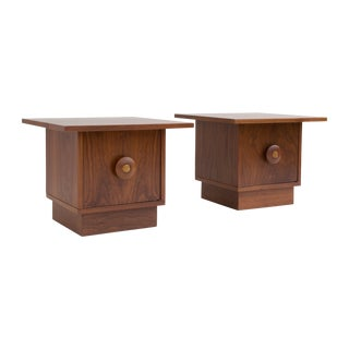 Brown Saltman Mid-Century Nightstands - A Pair