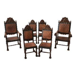 Spanish Antique Leather Dining Chairs - Set of 6