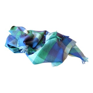 Blue & Green Plaid Wool Throw
