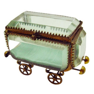 Vintage French Bevel Glass & Ormolu Carriage Box