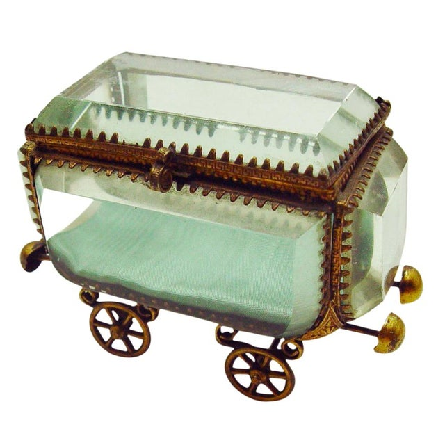 Vintage French Bevel Glass & Ormolu Carriage Box - Image 1 of 5
