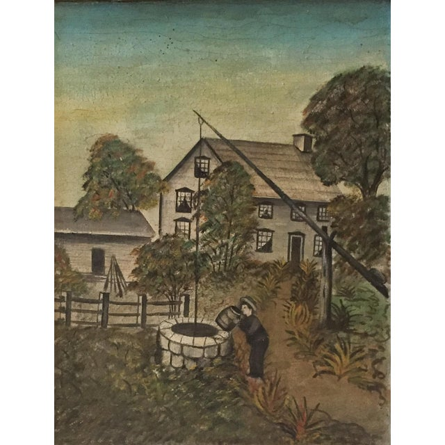 Image of 19th Century Folk Art Oil on Canvas Painting