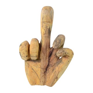 """The Finger"" Wooden Sculpture by Chris Crispy"