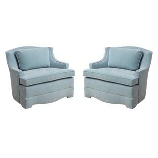 Aqua Blue Velvet Chairs - A Pair
