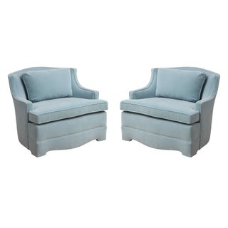 Aqua Blue Velvet Chairs - A Pair