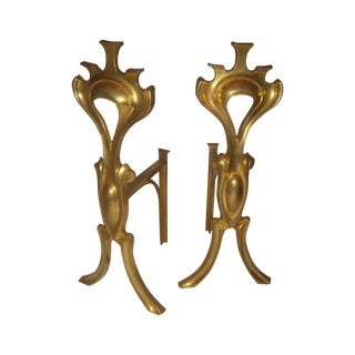 Bronze Art Nouveau Fireplace Andirons - Pair