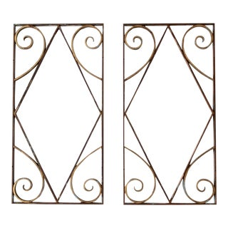 Antique Brass Architectural Panels- A Pair