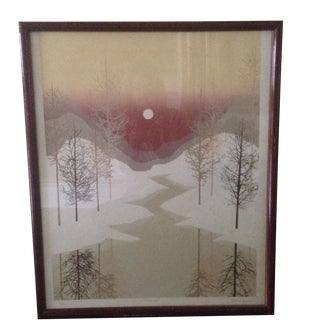 James Hagen Modernist Winterscape Print, Signed