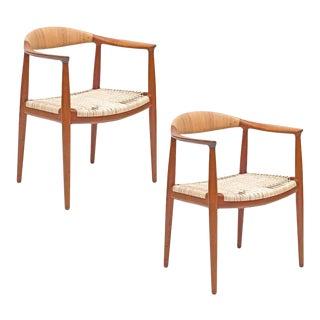 """Pair of Hans J. Wegner Woven Cane Teak """"the Chairs"""" for Johannes Hansen"""