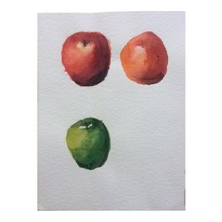 Three Apples, Vintage Watercolor Still Life