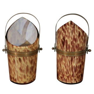 Shaped Glass Vessels with Brass Elements - A Pair