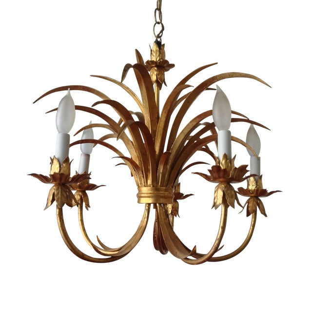 Hollywood Regency Gilt Tole Chandelier - Image 1 of 7
