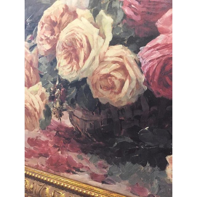 Vintage Still Life Roses in Basket Lithograph on Board - Furcy De Lavault - Image 4 of 10