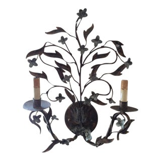 Floral Double Armed Iron Sconce