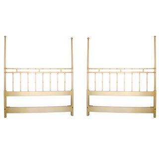 Drexel Wood White Lacquer Bamboo Full Headboards - Pair