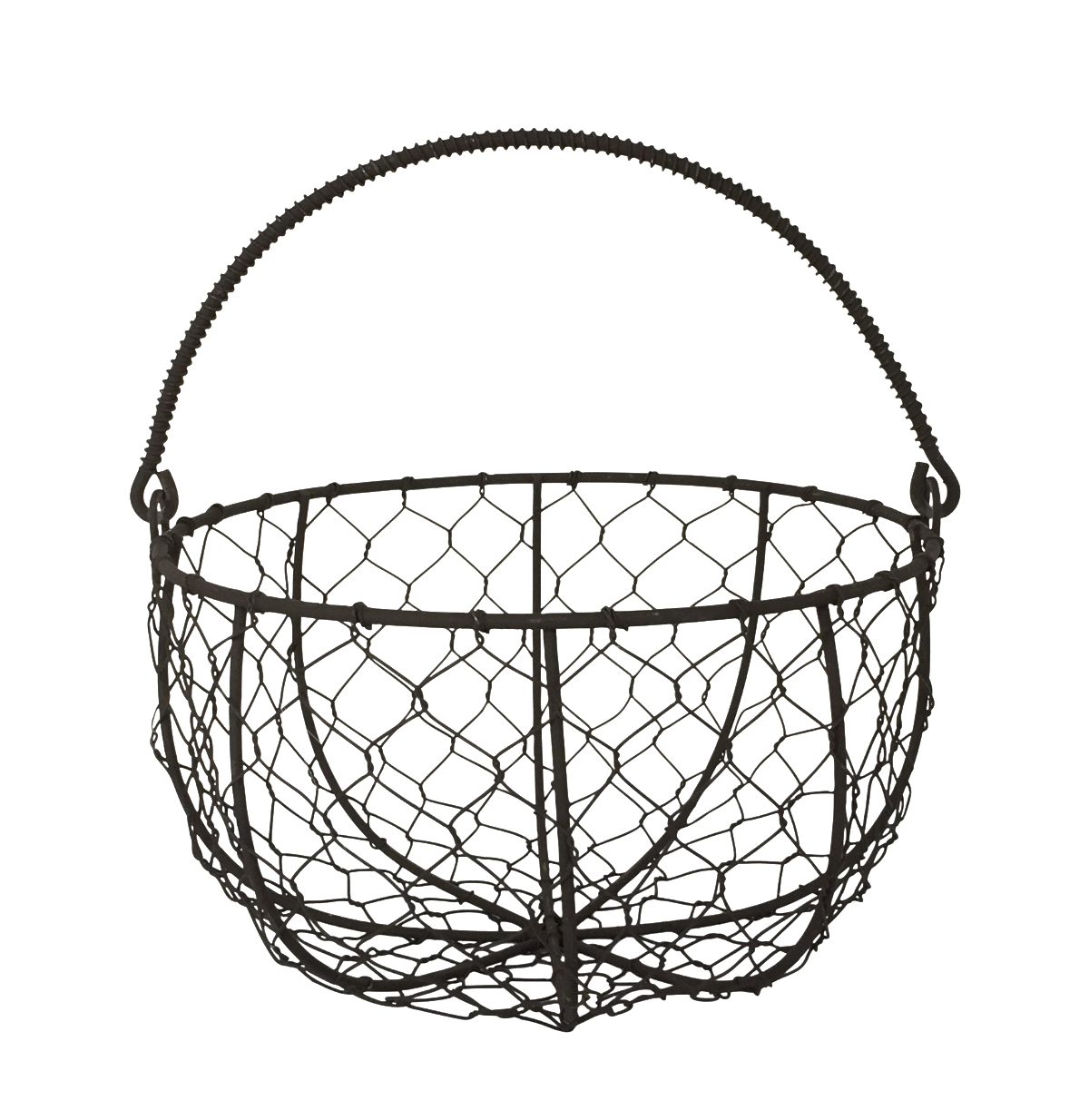 rustic wire egg basket with handle