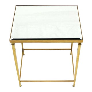Solid Brass Tapered Leg Beveled Glass Mirror Top Side End Table