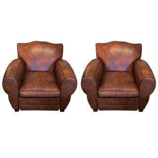 Luscious Custom Leather Club Chairs - A Pair