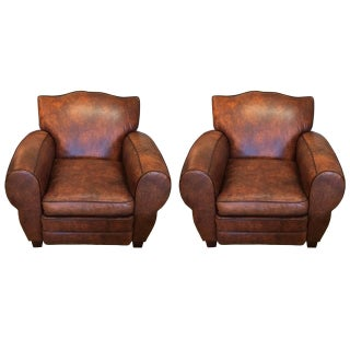Luscious Custom Leather Club Chairs - A Pair