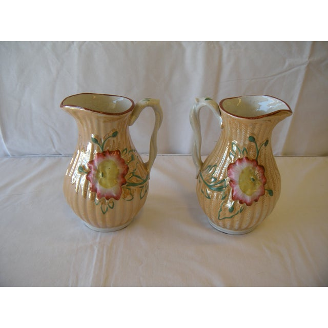 Botanical Lusterware Pitchers - A Pair - Image 4 of 4
