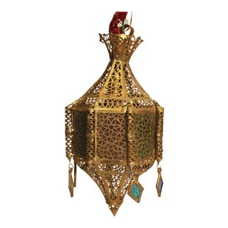 Indian Mid Century Brass Hanging Swag Lamp