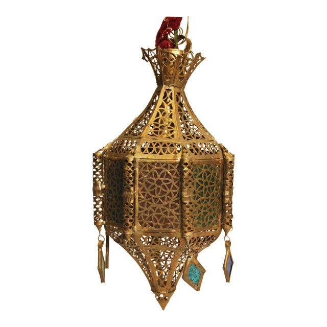 Mid Century Swag Lamp: Indian Mid Century Brass Hanging Swag Lamp