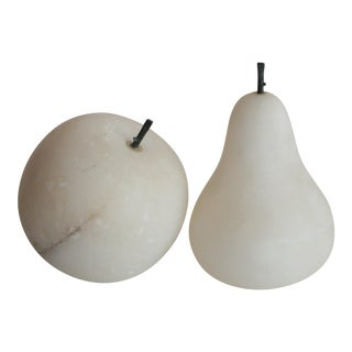 White Italian Alabaster Apple and Pear