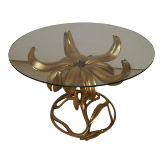 Vintage Arthur Court Gilt Lily Glass Top Side Table
