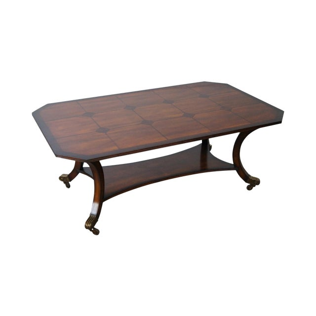 Baker regency style mahogany inlaid coffee table chairish Baker coffee table