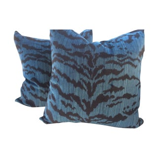 "Scalamandre ""Le Tigre"" Ocean Blue Pillows - A Pair"