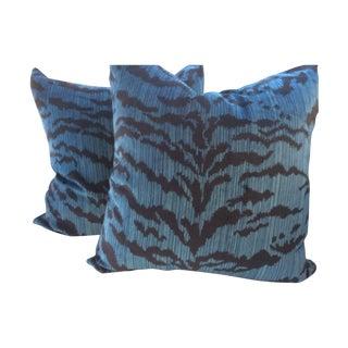 "Scalamandre ""Le Tigre"" Ocean Blue Pillows - A Pair"