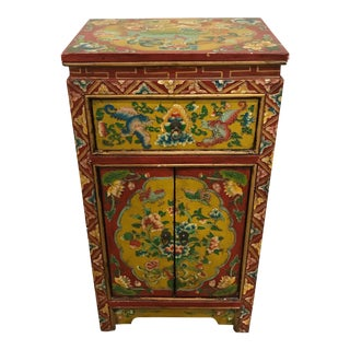 Vintage Boho Chinoiserie Painted Cabinet