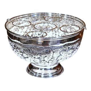 French Silver Plated Repousse Round Wine Cooler