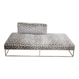 Modern Chrome & Velvet Chaise Lounge