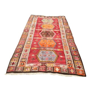 "Vintage Turkish Kilim Rug - 6'3"" x 11'"