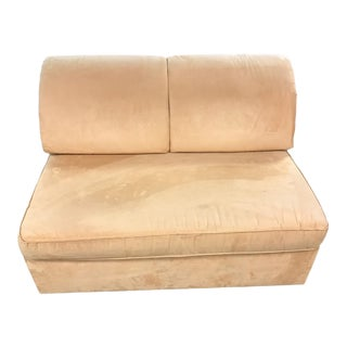 Mustard Suede Loveseat Pull Out Sleeper