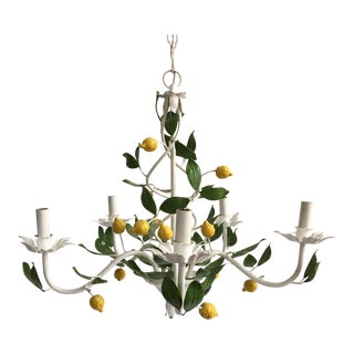 Italian Lemon Tree Tole Chandelier