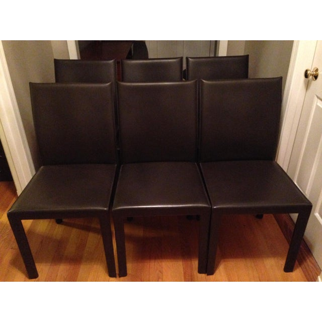 Crate And Barrel Dining Chair: Crate & Barrel Leather Dining Chairs - Set Of 6