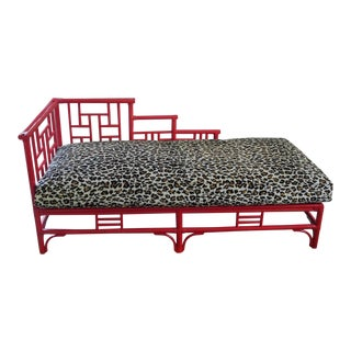Chinese Chippendale Rattan Chaise