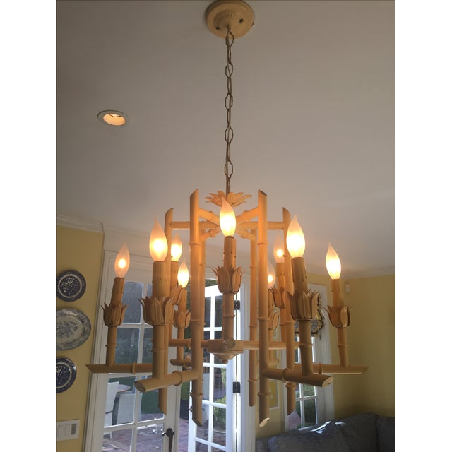 Vintage Yellow Faux Bamboo Chandelier - Image 3 of 3