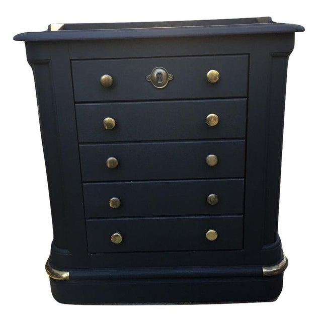 Image of National Mount Airy Black & Gold Beadboard Dresser