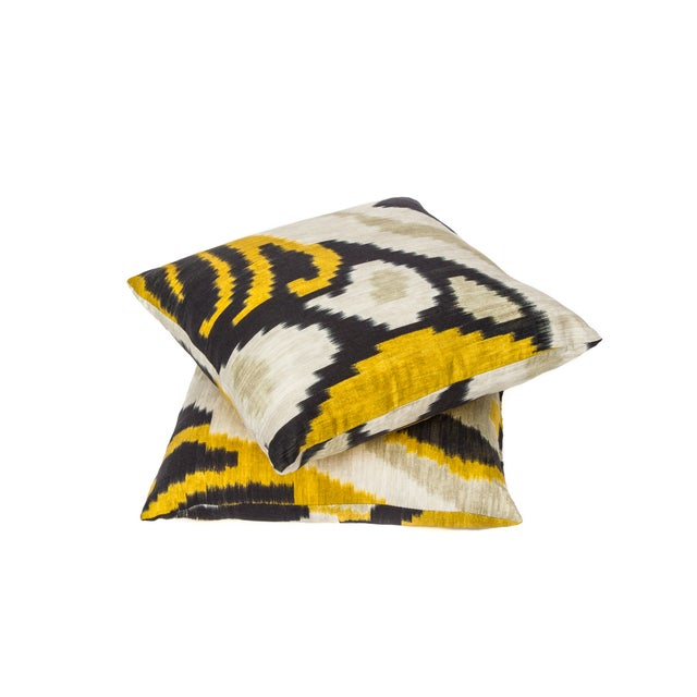 Yellow & Blue Ikat Pillow - Image 2 of 2