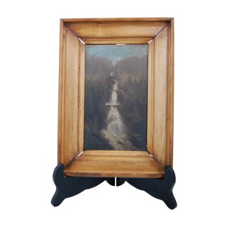 Antique Landscape Painting Mountain Waterfall
