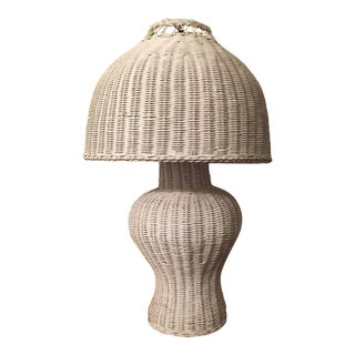 Vintage Wicker Ginger Jar Lamp