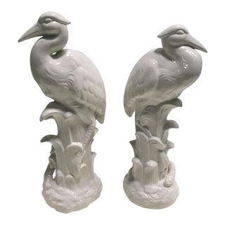 Whiteware Ceramic Heron Figures - A Pair