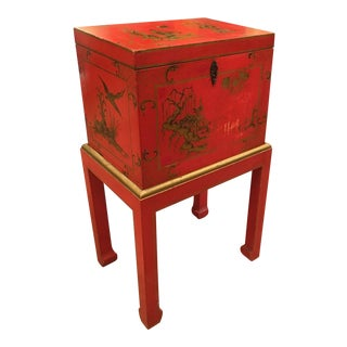 Red Chinoiserie Chest Box on Stand Table - Italy