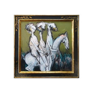 Figures on a Horse Abstract Oil Painting