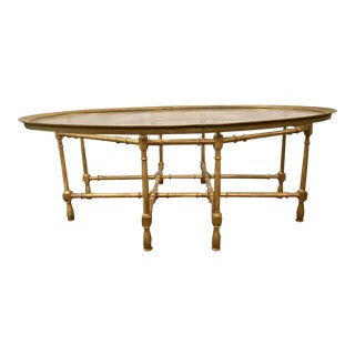 Faux Bamboo Glass Top Coffee or Low Table Probably by Baker Furniture Company